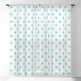 Turquoise on White Stars Sheer Curtain
