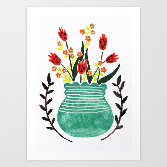 Turquoise pot Art Print