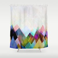 mountain Shower Curtains featuring Graphic 104 by Mareike Böhmer