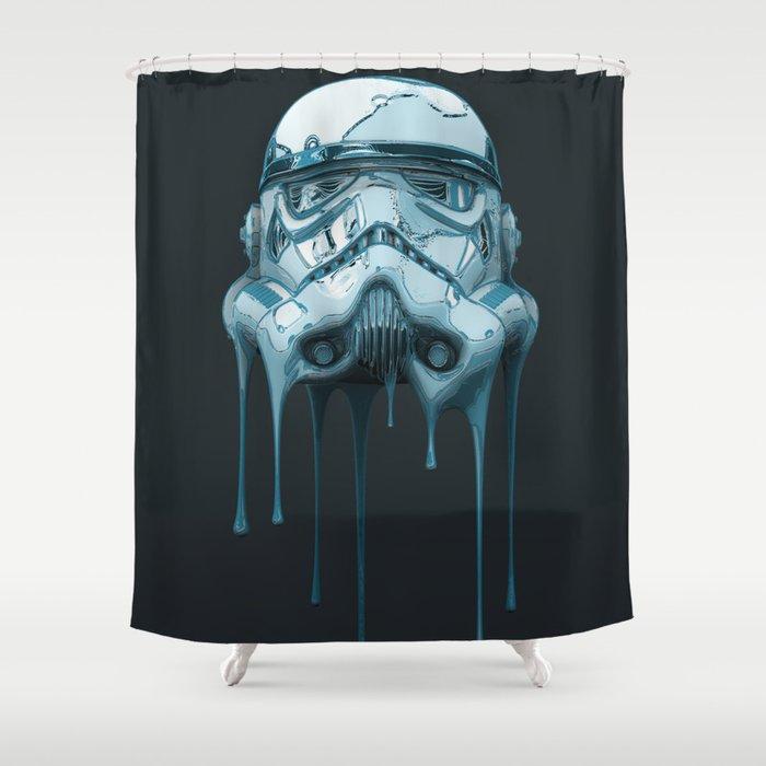 Stormtrooper Melting Dark Shower Curtain