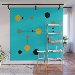 Dot line Dot in Aqua Wall Mural