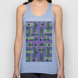 Purple, Green and Yellow Block City Unisex Tank Top
