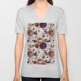 Bohemian orange violet brown watercolor floral pattern Unisex V-Neck