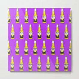 Corona Beer Bottle, Pop-Art Pattern, Purple Metal Print