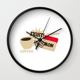 Coffee Versus Monday Fight! Funny Coffee Office Wall Clock