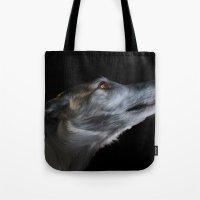 greyhound Tote Bags featuring Greyhound by Julie Hoddinott