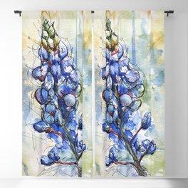 Spring Watercolor Texas Bluebonnet Flowers Blackout Curtain