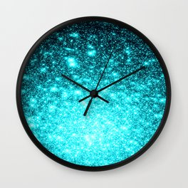 Turquoise Ombre Stars Wall Clock