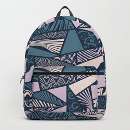 Shapes and swirls pattern Midnight Blue Combo Backpack