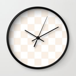 Checkered - White and Linen Wall Clock