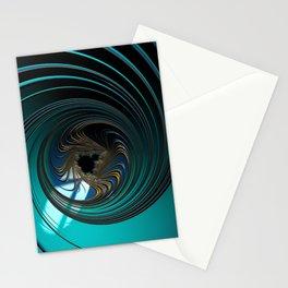 BEYOND metallic sea green and gold circular fractal universe Stationery Cards