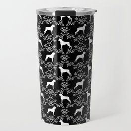 Boxer florals silhouette black and white floral pattern dog portrait dog breeds boxers Travel Mug