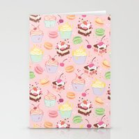 macaroon Stationery Cards featuring sweet pattern aka cake , cupcake and macaroon by Marta Olga Klara