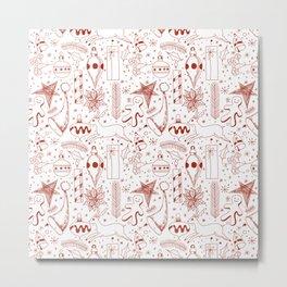 Doodle Christmas pattern Metal Print