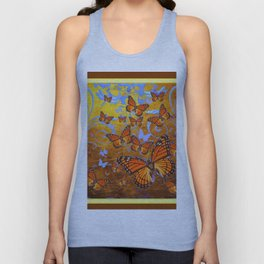Caramel Color Monarch Butterflies Butterflies  Fantasy Abstract Unisex Tank Top