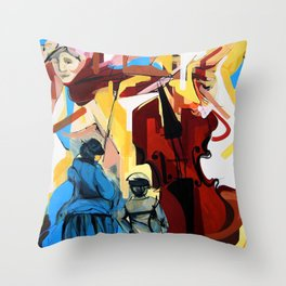 Expressive Cello People Painting Throw Pillow