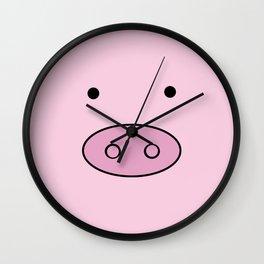 Little Piggy (Pig Face, Pig Nose) - Pink Black  Wall Clock