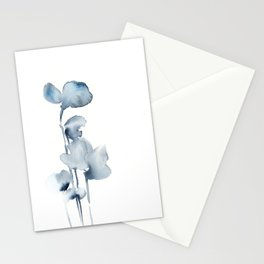 Blue grey florals Stationery Cards