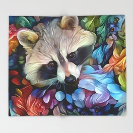 Peekaboo Raccoon Throw Blanket