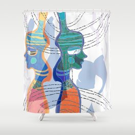 Girl Silhouette With Shapes VI Shower Curtain