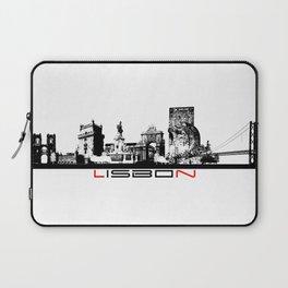Lisbon skyline city black Laptop Sleeve