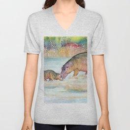 Hippopotamus Unisex V-Neck