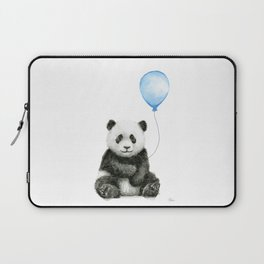 Panda Baby Animal with Blue Balloon Laptop Sleeve