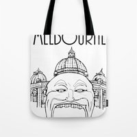 melbourne Tote Bags featuring Melbourne by Jeremy Buckley illustration