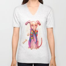 pet dog with precious toys Unisex V-Neck