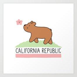 Kawaii California Republic Art Print