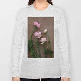 Pink Ranunculus Flowers Long Sleeve T-shirt