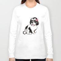 shih tzu Long Sleeve T-shirts featuring Shih Tzu Puppy  by Artist Abigail