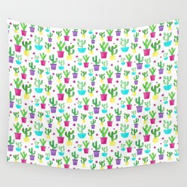 Watercolor Succulent Cactus Pattern Wall Tapestry