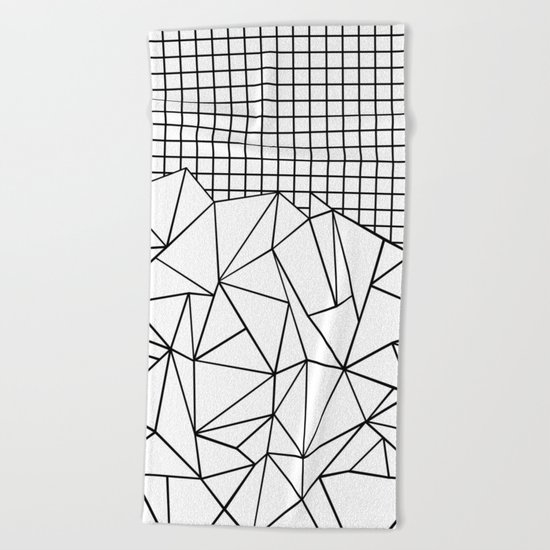 Abstract Grid #2 Black on White Beach Towel