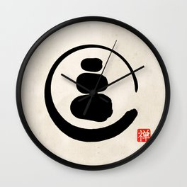 Zen Enso Circle and Zen stones Wall Clock