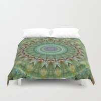 malachite Duvet Covers featuring Mandala green malachite by Christine baessler