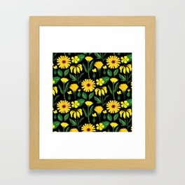 Sunshine yellow watercolor hand painted floral daisies Framed Art Print