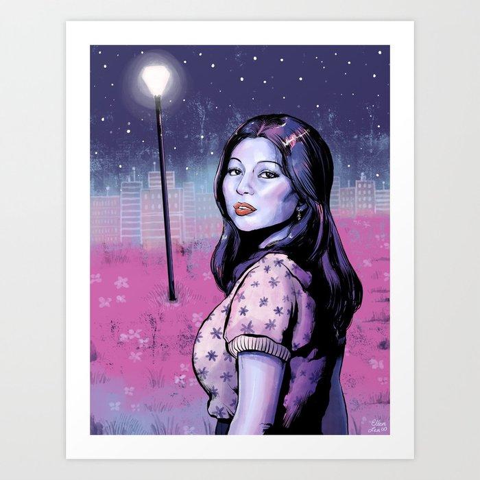 Girl Under the Stars Art Print