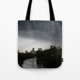 Storm clouds over Calgary and the Stampede grounds Tote Bag