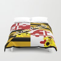 maryland Duvet Covers featuring Maryland Pride  by BeccaBlueyes