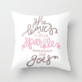 She Leaves A Little Sparkle -  Pink / Black Throw Pillow