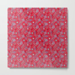Snowflakes Falling in Cherry Red, Christmas and Holiday Fantasy Collection Metal Print