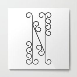 "Letter ""N"" in beautiful design Fashion Modern Style Metal Print"