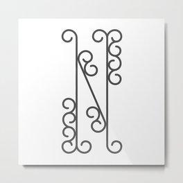 "Letter ""N"" in beautiful design Fashion Modern Style Metal Print"