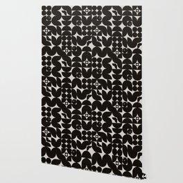 Black & White Mid Century Modern Pattern Wallpaper