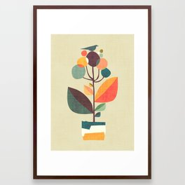 Potted plant with a bird Framed Art Print