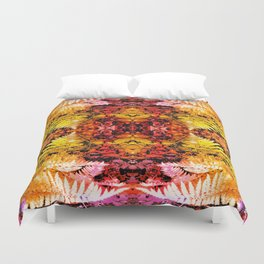 Rust and Gold Fern Patched Fractal Duvet Cover