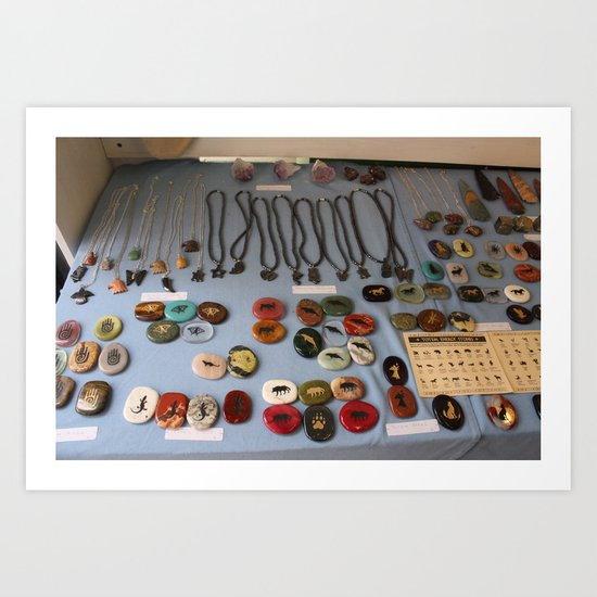 Stones and Jewelry at a Shop Downtown Art Print