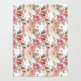 Blush pink ivory watercolor floral pattern Poster