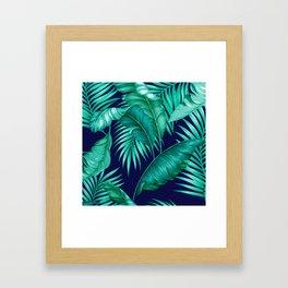 HAWAIIAN GARDEN TROPICAL LEAVES | turquoise navy Framed Art Print